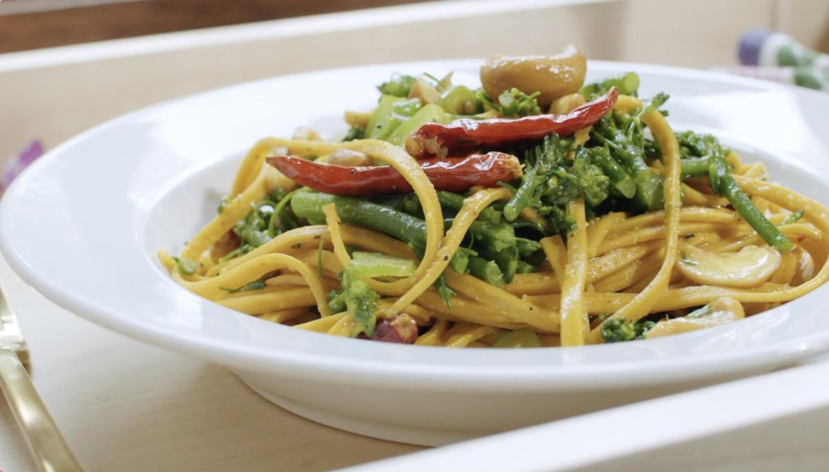 Turmeric Pasta with Broccolini